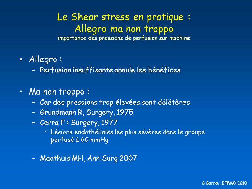 B Barrou, EFPMO 2010 Le Shear stress en pratique : Allegro ma non troppo importance des pressions de perfusion sur machine Allegro : –Perfusion insuff