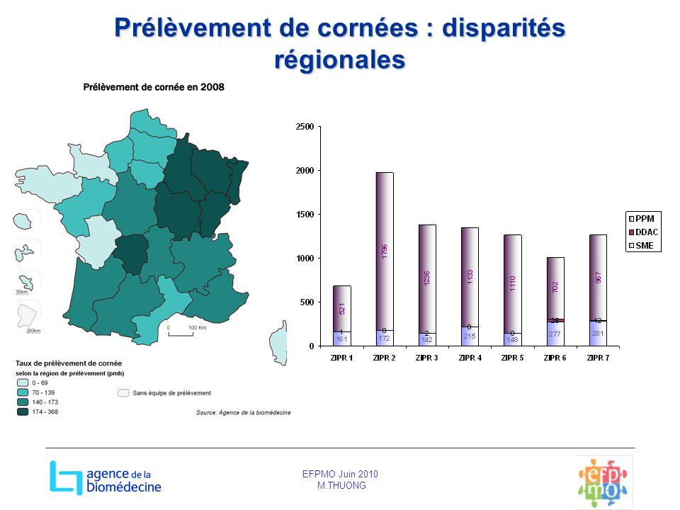 EFPMO Juin 2010 M.THUONG Prélèvement de cornées : disparités régionales