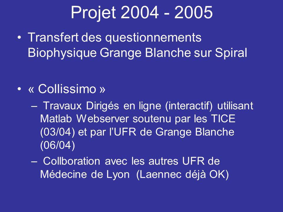 Projet 2004 - 2005 Transfert des questionnements Biophysique Grange Blanche sur Spiral « Collissimo » – Travaux Dirigés en ligne (interactif) utilisan
