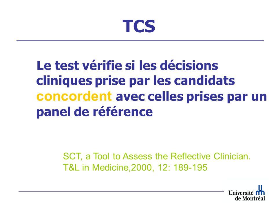 TCS Le test vérifie si les décisions cliniques prise par les candidats concordent avec celles prises par un panel de référence SCT, a Tool to Assess t