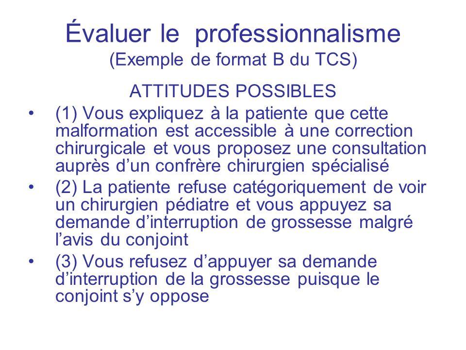 Évaluer le professionnalisme (Exemple de format B du TCS) ATTITUDES POSSIBLES (1) Vous expliquez à la patiente que cette malformation est accessible à