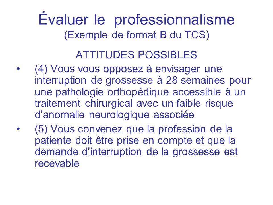 Évaluer le professionnalisme (Exemple de format B du TCS) ATTITUDES POSSIBLES (4) Vous vous opposez à envisager une interruption de grossesse à 28 sem