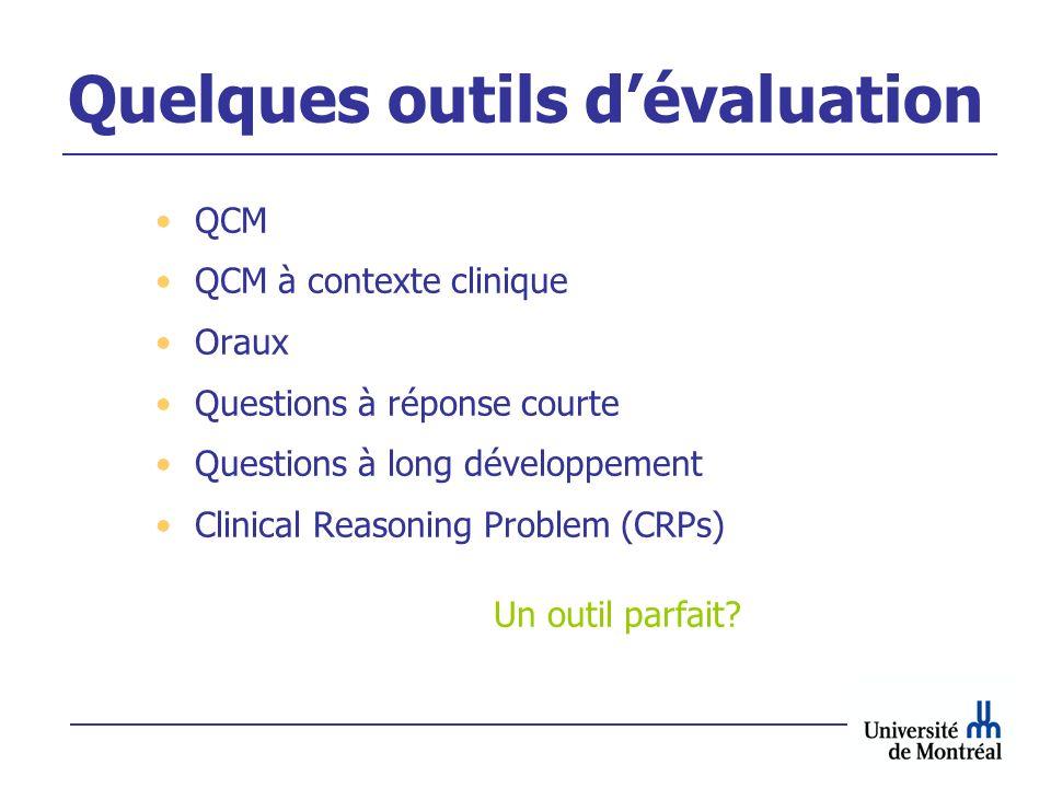 Quelques outils dévaluation QCM QCM à contexte clinique Oraux Questions à réponse courte Questions à long développement Clinical Reasoning Problem (CR