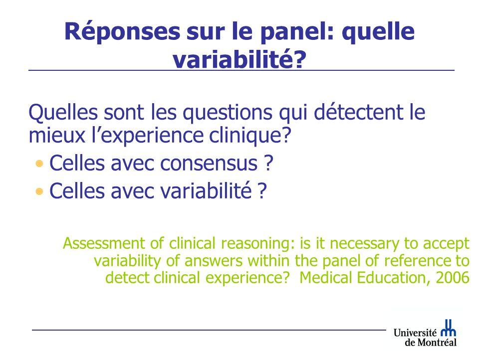Réponses sur le panel: quelle variabilité? Quelles sont les questions qui détectent le mieux lexperience clinique? Celles avec consensus ? Celles avec