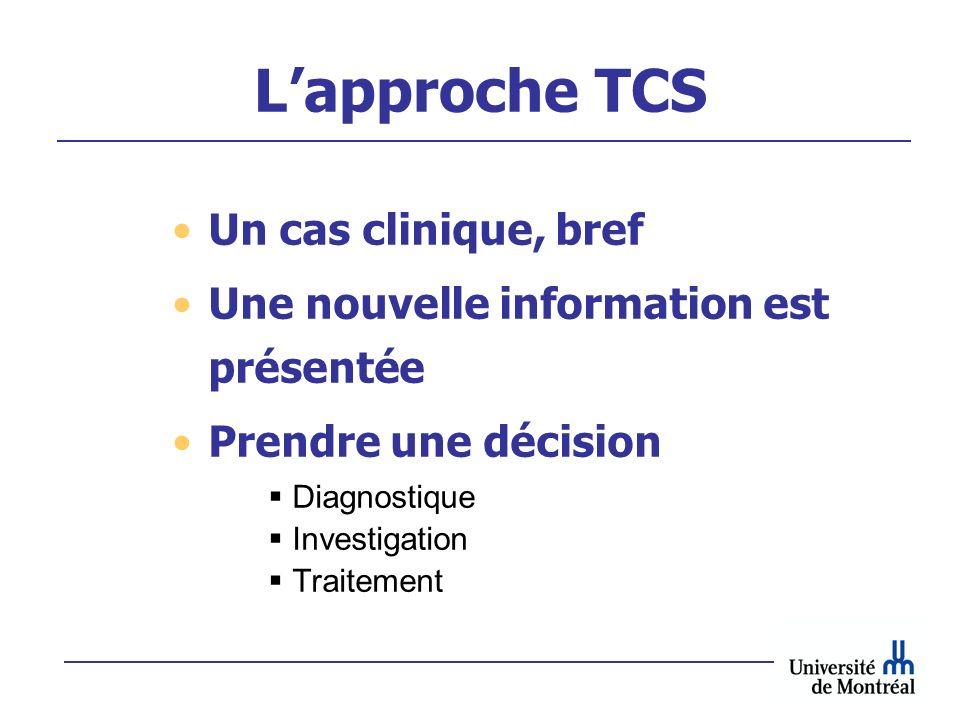 Lapproche TCS Un cas clinique, bref Une nouvelle information est présentée Prendre une décision Diagnostique Investigation Traitement