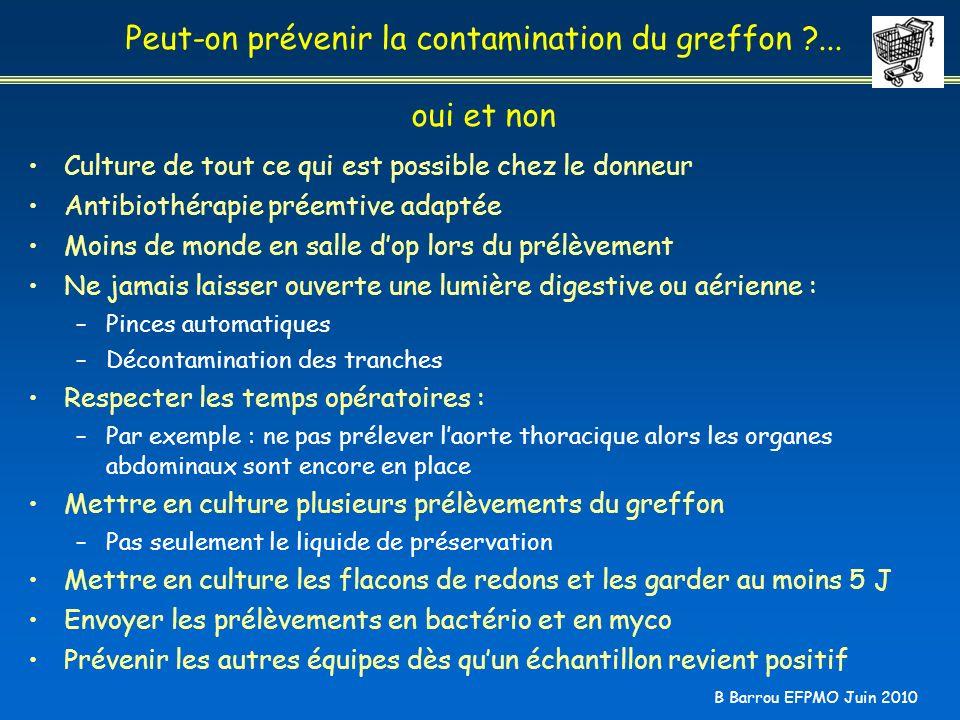 B Barrou EFPMO Juin 2010 Peut-on prévenir la contamination du greffon ?... oui et non Culture de tout ce qui est possible chez le donneur Antibiothéra