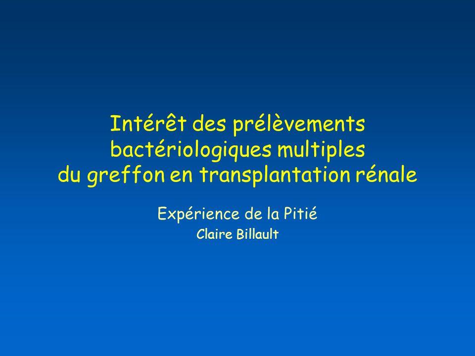 Intérêt des prélèvements bactériologiques multiples du greffon en transplantation rénale Expérience de la Pitié Claire Billault