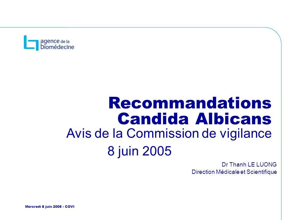 B Barrou EFPMO Juin 2010 Recommandations Candida Albicans Avis de la Commission de vigilance 8 juin 2005 Dr Thanh LE LUONG Direction Médicale et Scien