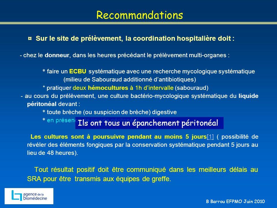 B Barrou EFPMO Juin 2010 Recommandations ¤ Sur le site de prélèvement, la coordination hospitalière doit : - chez le donneur, dans les heures précédan