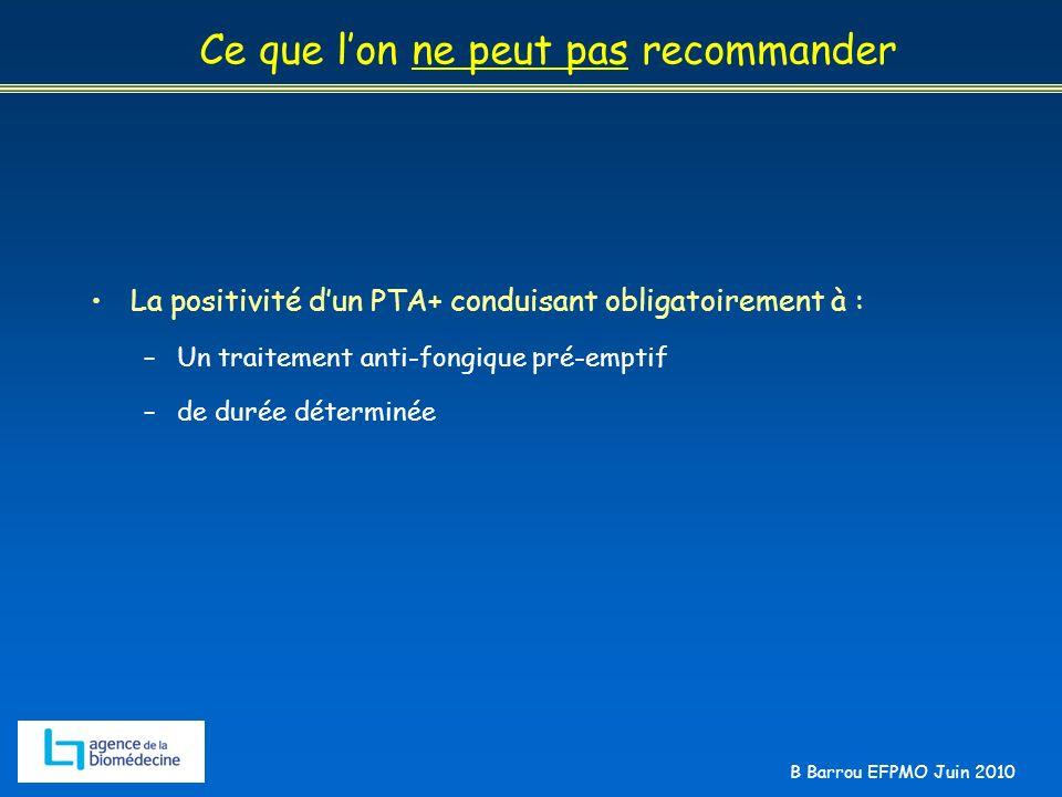 B Barrou EFPMO Juin 2010 Ce que lon ne peut pas recommander La positivité dun PTA+ conduisant obligatoirement à : –Un traitement anti-fongique pré-emp