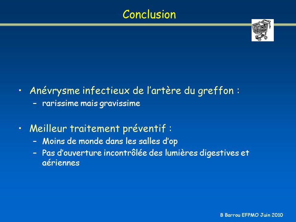 B Barrou EFPMO Juin 2010 Conclusion Anévrysme infectieux de lartère du greffon : –rarissime mais gravissime Meilleur traitement préventif : –Moins de