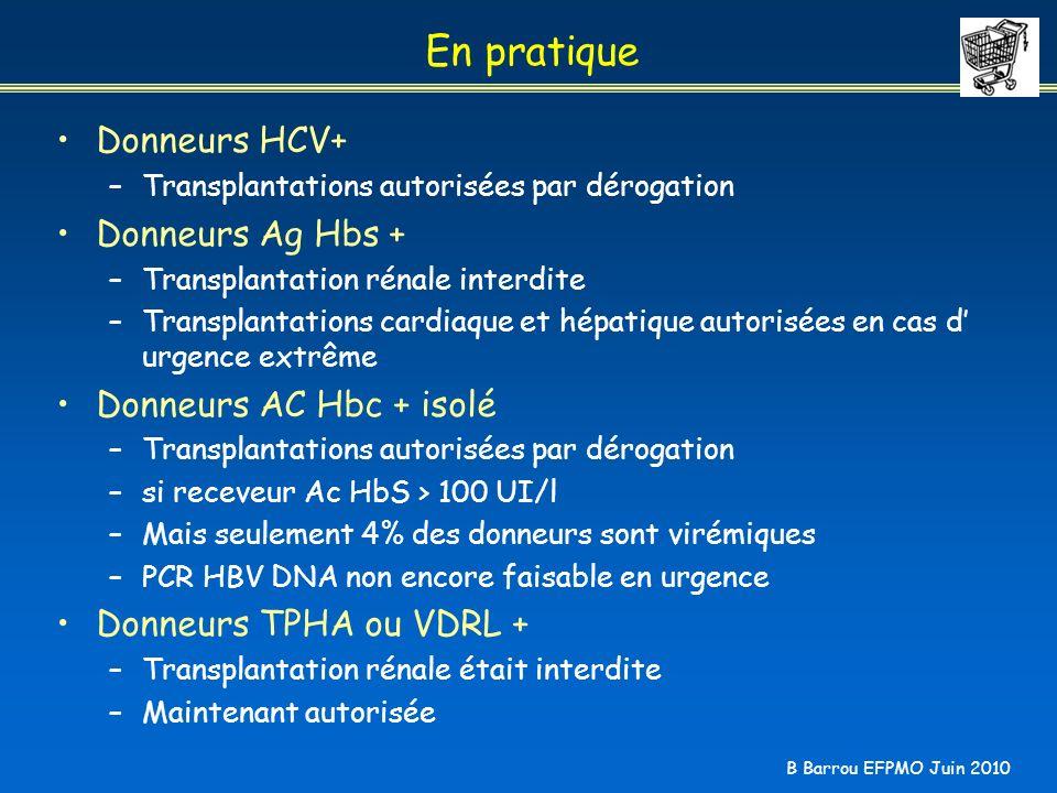 B Barrou EFPMO Juin 2010 En pratique Donneurs HCV+ –Transplantations autorisées par dérogation Donneurs Ag Hbs + –Transplantation rénale interdite –Tr