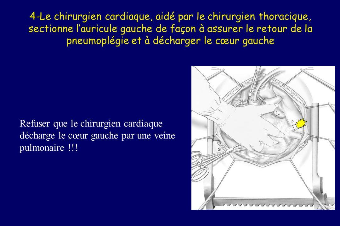 Les « plégies » La cardioplégie est instillée à laide dune pompe à galet (optionnelle) Simultanément, on commence la pneumoplégie (quantité fonction du liquide) Attention : pas de glace directement sur le coeur