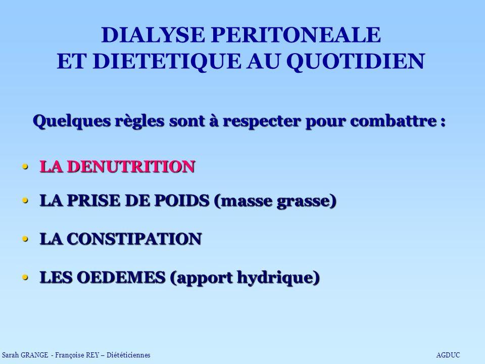 Quelques règles sont à respecter pour combattre : LA DENUTRITION LA DENUTRITION LA PRISE DE POIDS (masse grasse) LA PRISE DE POIDS (masse grasse) LA C