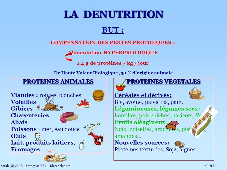 BUT : COMPENSATION DES PERTES PROTIDIQUES : Alimentation HYPERPROTIDIQUE 1,4 g de protéines / kg / jour De Haute Valeur Biologique, 50 % dorigine anim