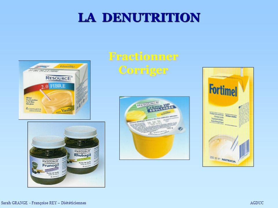 Fractionner Corriger Fractionner Corriger LA DENUTRITION Sarah GRANGE - Françoise REY – DiététiciennesAGDUC