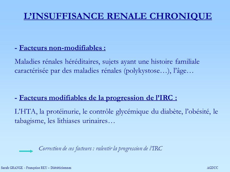 LINSUFFISANCE RENALE CHRONIQUE - Facteurs non-modifiables : Maladies rénales héréditaires, sujets ayant une histoire familiale caractérisée par des ma