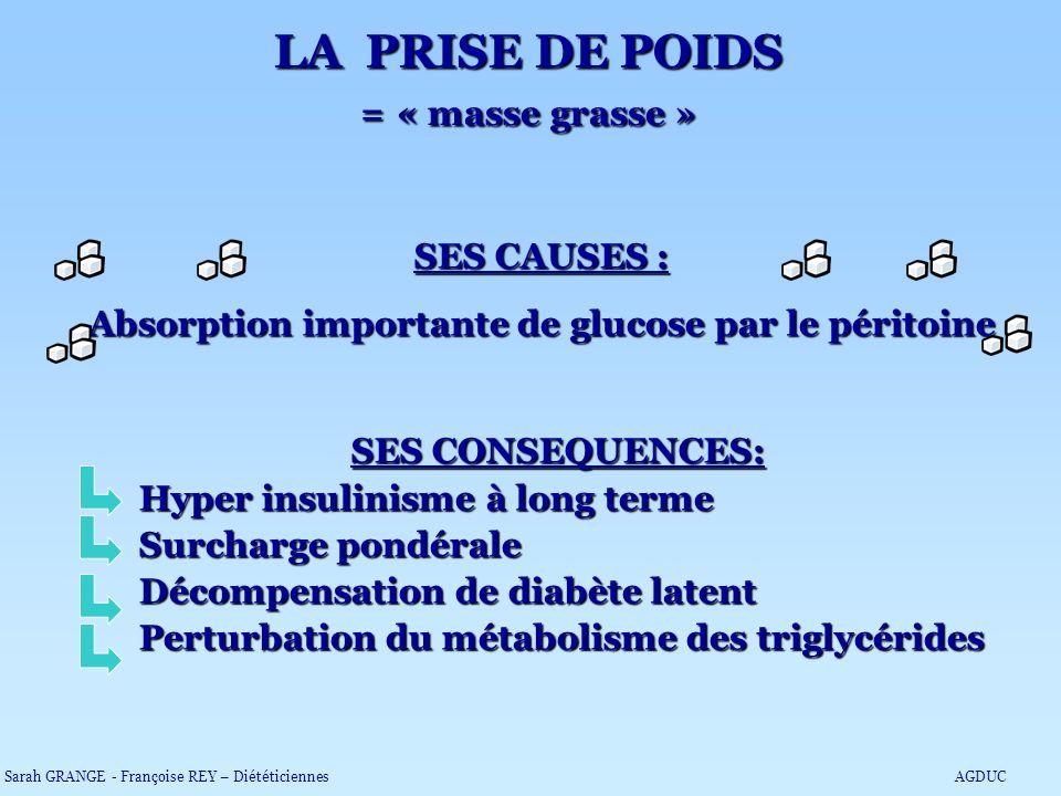 LA PRISE DE POIDS = « masse grasse » SES CAUSES : Absorption importante de glucose par le péritoine SES CONSEQUENCES: Hyper insulinisme à long terme S