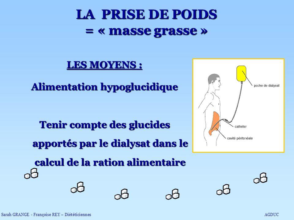 LES MOYENS : Alimentation hypoglucidique Tenir compte des glucides apportés par le dialysat dans le calcul de la ration alimentaire LA PRISE DE POIDS
