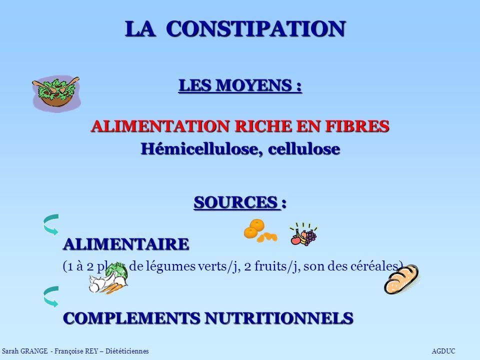 LES MOYENS : ALIMENTATION RICHE EN FIBRES Hémicellulose, cellulose SOURCES : ALIMENTAIRE (1 à 2 plats de légumes verts/j, 2 fruits/j, son des céréales