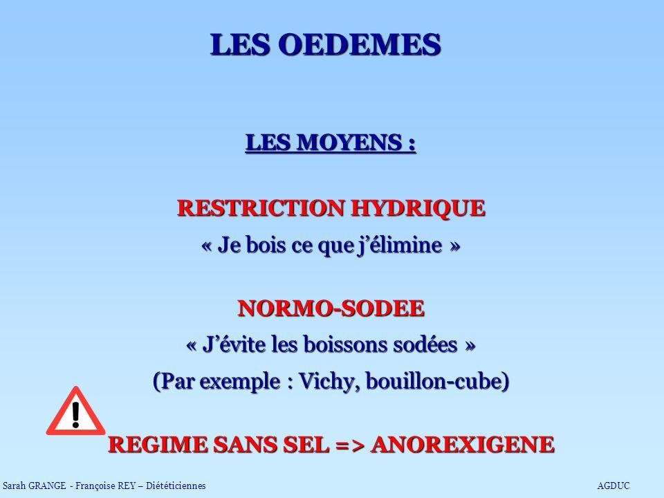LES OEDEMES LES MOYENS : RESTRICTION HYDRIQUE « Je bois ce que jélimine » NORMO-SODEE « Jévite les boissons sodées » (Par exemple : Vichy, bouillon-cu