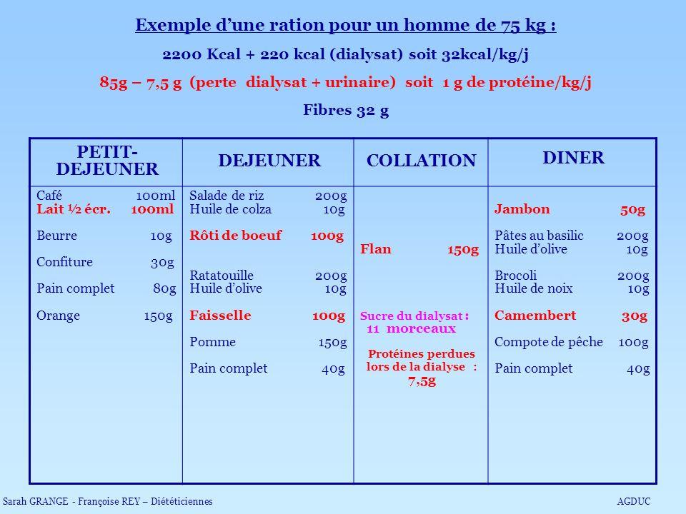 Exemple dune ration pour un homme de 75 kg : 2200 Kcal + 220 kcal (dialysat) soit 32kcal/kg/j 85g – 7,5 g (perte dialysat + urinaire) soit 1 g de prot