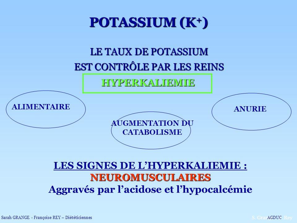 LE TAUX DE POTASSIUM EST CONTRÔLE PAR LES REINS HYPERKALIEMIE NEUROMUSCULAIRES LES SIGNES DE LHYPERKALIEMIE : NEUROMUSCULAIRES Aggravés par lacidose e