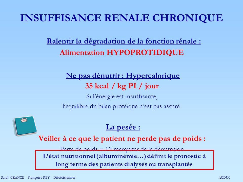 Ralentir la dégradation de la fonction rénale : Alimentation HYPOPROTIDIQUE Ne pas dénutrir : Hypercalorique 35 kcal / kg PI / jour Si lénergie est in