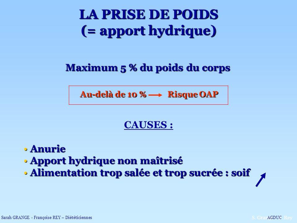 Maximum 5 % du poids du corps Au-delà de 10 % Risque OAP CAUSES : Anurie Anurie Apport hydrique non maîtrisé Apport hydrique non maîtrisé Alimentation