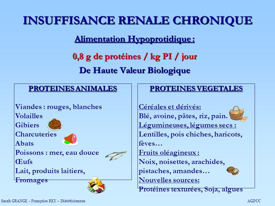 Alimentation Hypoprotidique : 0,8 g de protéines / kg PI / jour De Haute Valeur Biologique PROTEINES VEGETALES Céréales et dérivés: Blé, avoine, pâtes
