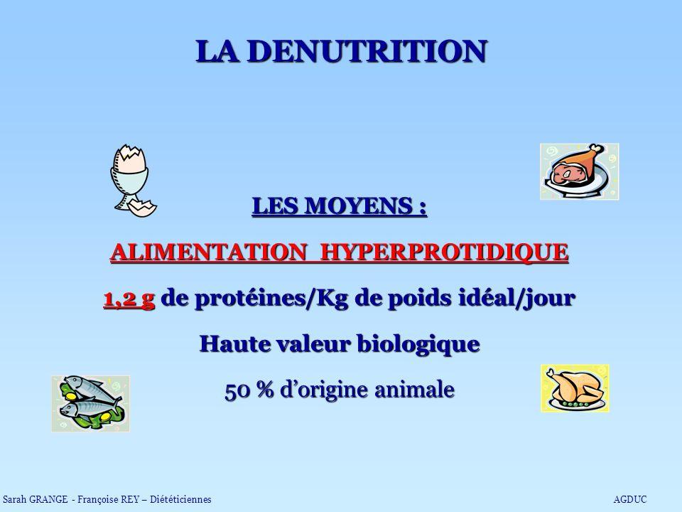 LES MOYENS : ALIMENTATION HYPERPROTIDIQUE 1,2 g de protéines/Kg de poids idéal/jour Haute valeur biologique 50 % dorigine animale LA DENUTRITION Sarah