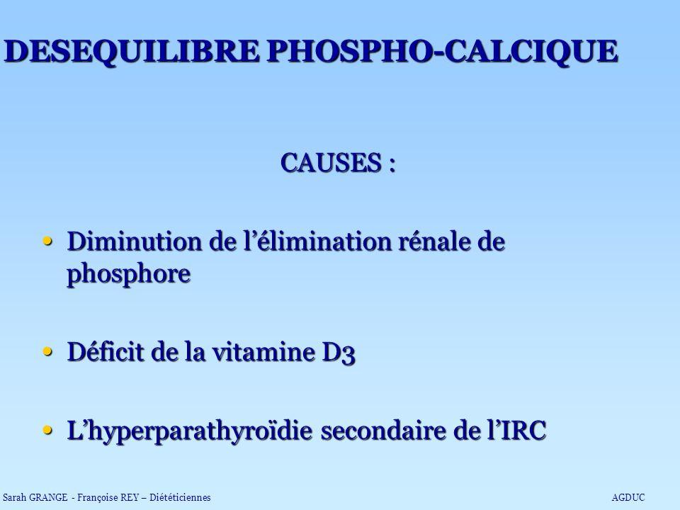 CAUSES : Diminution de lélimination rénale de phosphore Diminution de lélimination rénale de phosphore Déficit de la vitamine D3 Déficit de la vitamin