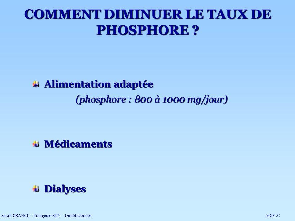 Alimentation adaptée Alimentation adaptée (phosphore : 800 à 1000 mg/jour) (phosphore : 800 à 1000 mg/jour) Médicaments Médicaments Dialyses Dialyses