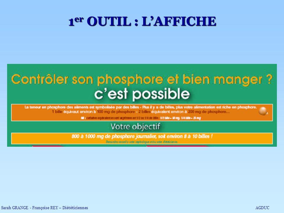 1 er OUTIL : LAFFICHE Sarah GRANGE - Françoise REY – DiététiciennesAGDUC