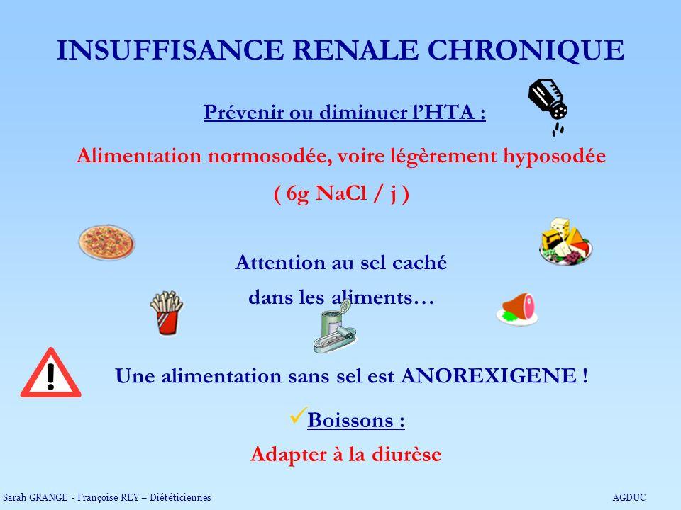 Prévenir ou diminuer lHTA : Alimentation normosodée, voire légèrement hyposodée ( 6g NaCl / j ) Attention au sel caché dans les aliments… Une alimenta