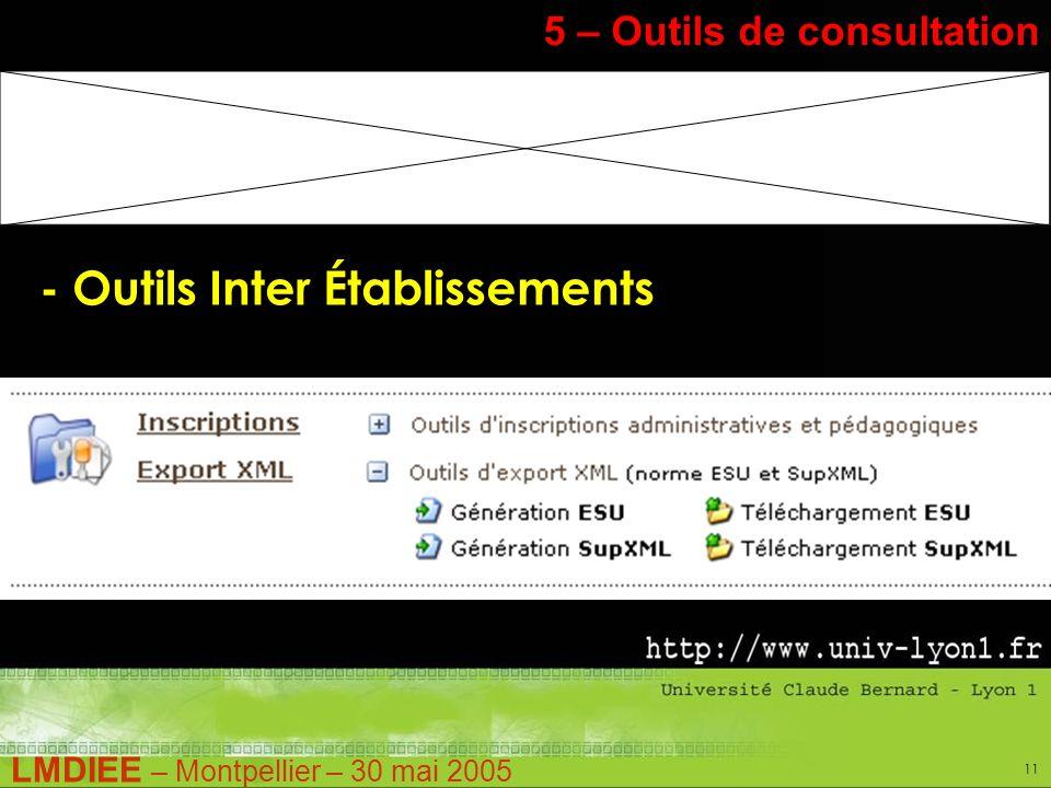 LMDIEE – Montpellier – 30 mai 2005 11 5 – Outils de consultation - Outils Inter Établissements