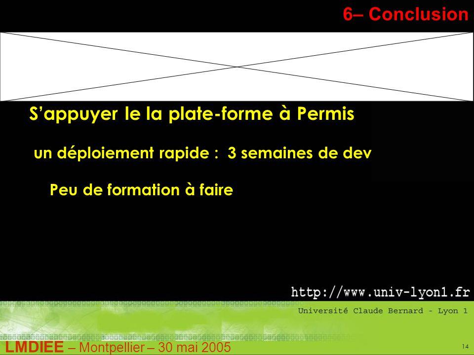 LMDIEE – Montpellier – 30 mai 2005 14 Stage Pratique – M1 6– Conclusion Sappuyer le la plate-forme à Permis un déploiement rapide : 3 semaines de dev Peu de formation à faire