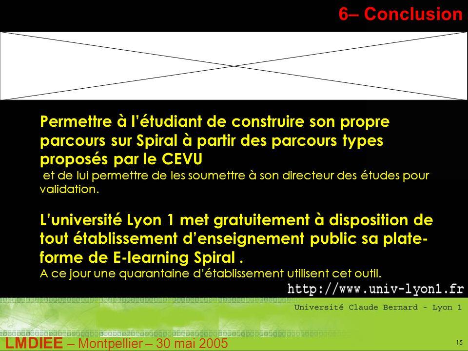 LMDIEE – Montpellier – 30 mai 2005 15 Stage Pratique – M1 6– Conclusion Permettre à létudiant de construire son propre parcours sur Spiral à partir des parcours types proposés par le CEVU et de lui permettre de les soumettre à son directeur des études pour validation.