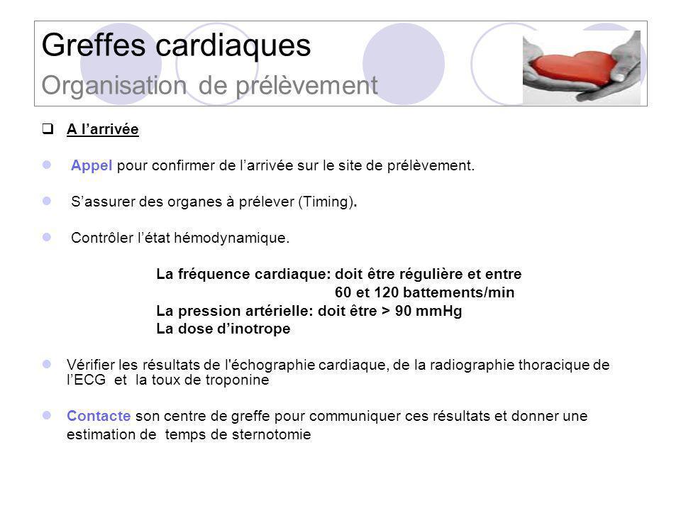 Greffes cardiaques Organisation de prélèvement A larrivée Appel pour confirmer de larrivée sur le site de prélèvement. Sassurer des organes à prélever