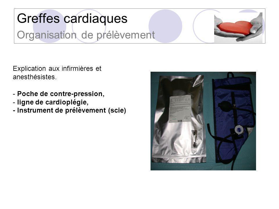 Greffes cardiaques Organisation de prélèvement Explication aux infirmières et anesthésistes. - Poche de contre-pression, - ligne de cardioplégie, - In