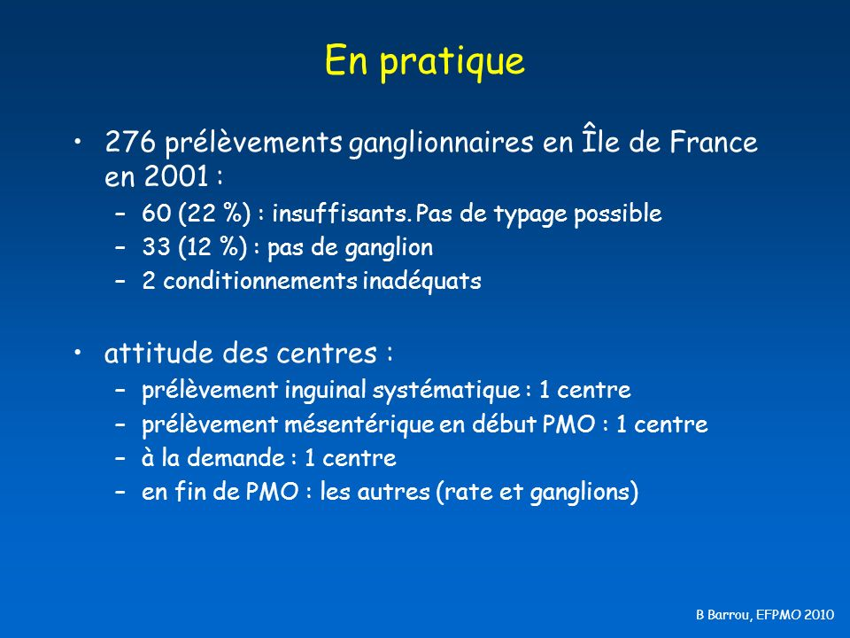 B Barrou, EFPMO 2010 Les besoins au labo Typage : 6.