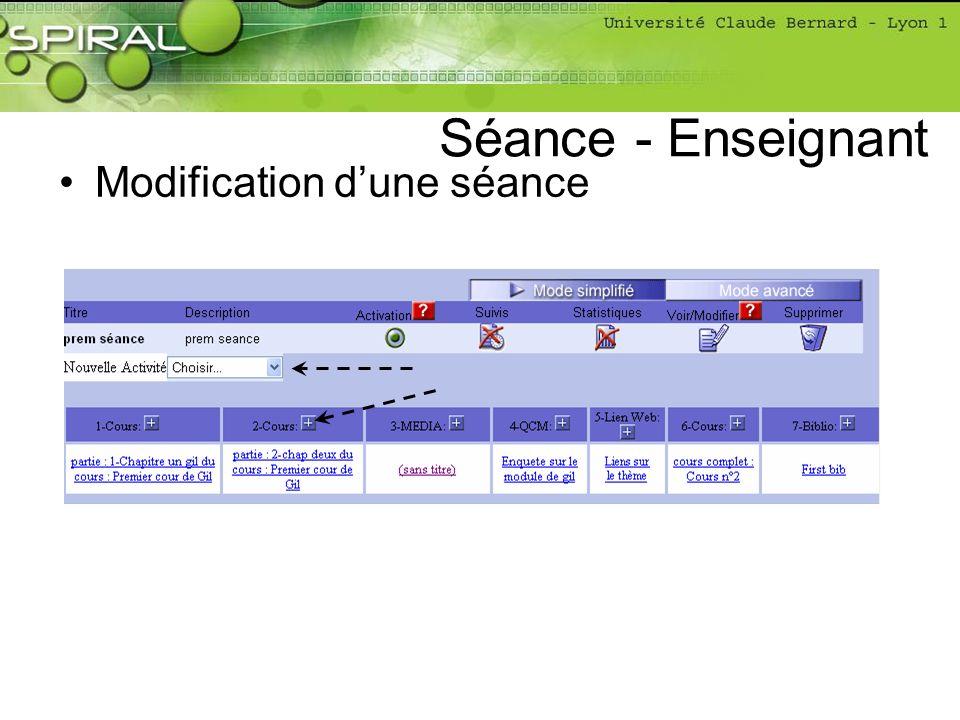 Modification dune séance Séance - Enseignant