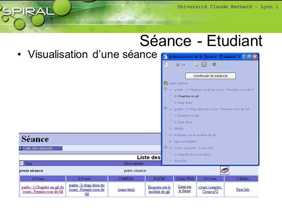 Visualisation dune séance Séance - Etudiant