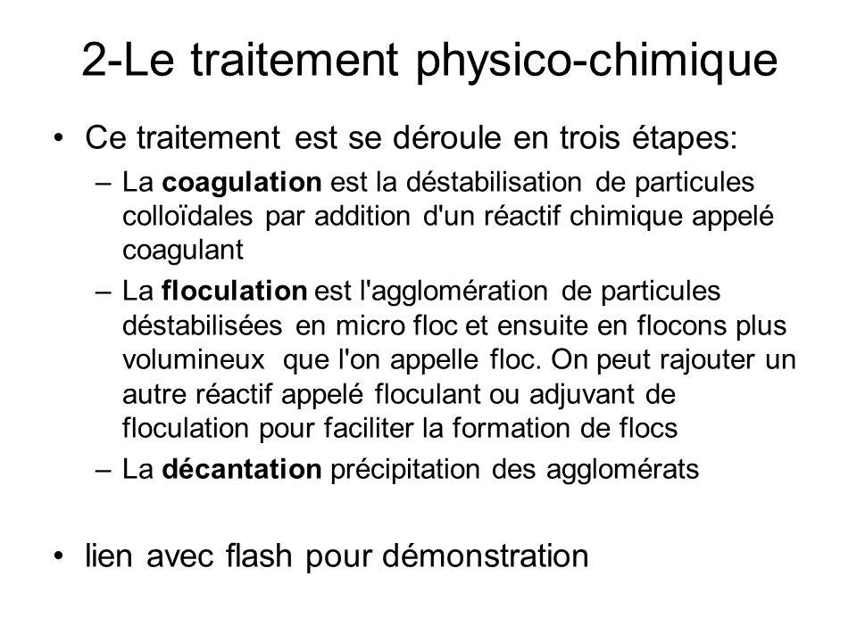 2-Le traitement physico-chimique Ce traitement est se déroule en trois étapes: –La coagulation est la déstabilisation de particules colloïdales par ad