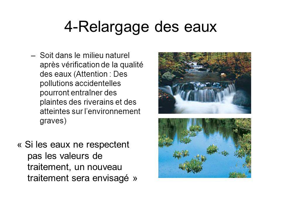 4-Relargage des eaux –Soit dans le milieu naturel après vérification de la qualité des eaux (Attention : Des pollutions accidentelles pourront entraîn