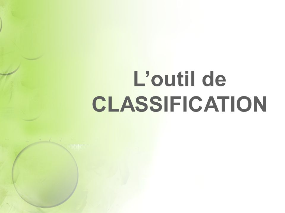 Loutil de CLASSIFICATION