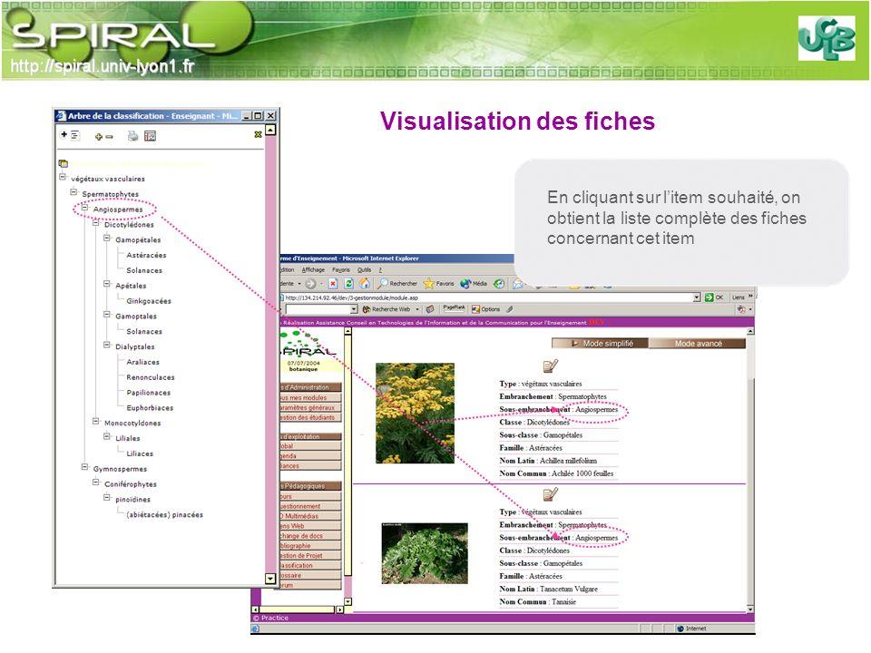 En cliquant sur litem souhaité, on obtient la liste complète des fiches concernant cet item Visualisation des fiches
