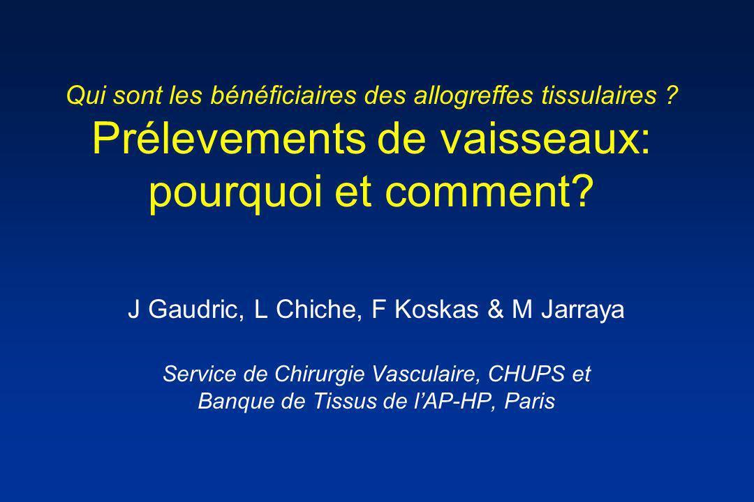 Qui sont les bénéficiaires des allogreffes tissulaires ? Prélevements de vaisseaux: pourquoi et comment? J Gaudric, L Chiche, F Koskas & M Jarraya Ser