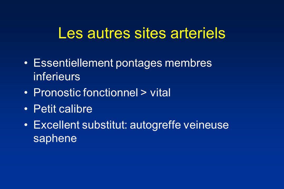 Les autres sites arteriels Essentiellement pontages membres inferieurs Pronostic fonctionnel > vital Petit calibre Excellent substitut: autogreffe vei