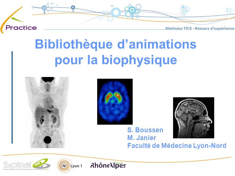 Bibliothèque danimations pour la biophysique S. Boussen M. Janier Faculté de Médecine Lyon-Nord